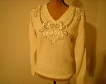 marisa christina sweater-sequined and beaded-evening wear-70 %lamb wool-rabbit hair-1980' s-size S