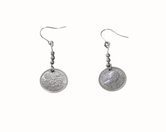 Old British Lucky Sixpence Earings
