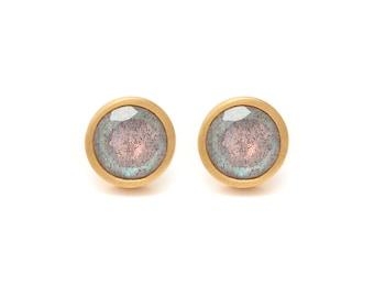 Labradorite Stud Earrings - Gemstone POP Stud Earrings - Labradorite in Yellow Gold - 18k Gold Vermeil - Studs