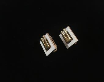 Vintage Trifari Clip Earrings, Square, Goldtone, White, Geometric