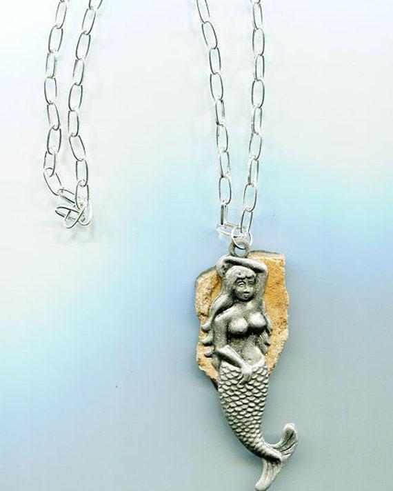 Silver Mermaid Necklace, stone Pendant necklace, mermaid pendant jewelry, natural original stone Jewelry brown fantasy