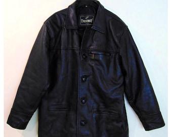 Vintage Men's Leather Coat, 80s Coat, 90s Coat, Men's Coat, Black Leather Coat, Biker Coat, Rocker Coat, Punk Coat, Goth Coat, Rock N Roll