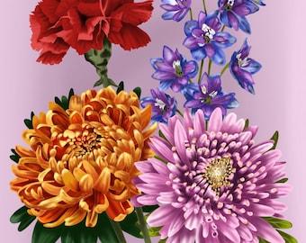 Custom - birth flowers
