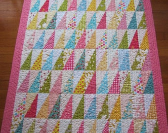 Modern, Scrappy and Sweet Baby Girl Quilt - Half Square Rectangles - Crib, Toddler, Nursery