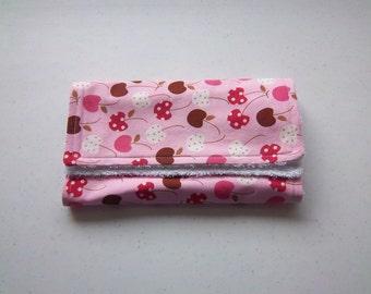 Cherries in Pink Burp Cloth