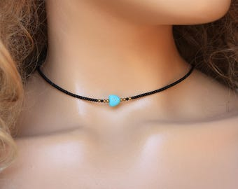 Tiny Beads Choker Necklace, Seed bead&Turquoise Simple Jewelry