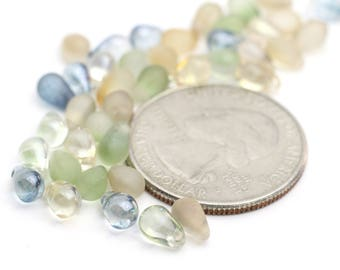Mixed Beach Glass colors of Green, Blue and Beige Mini Briolettes 4x6mm 12pcs