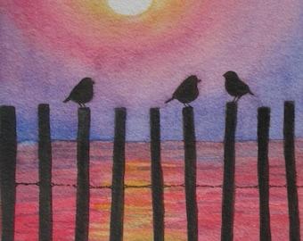 Sunset Painting, Sunset Birds Print, Nursery Wall Art, Sunset Print, Bird Print, Nursery Decor, Birds Home Decor, Mom Baby Gift, Beach Bird