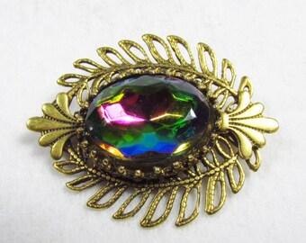 Vintage Freirich watermelon glass gold filigree brooch pin