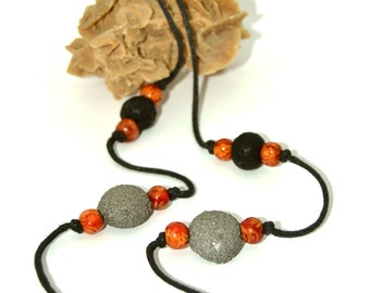 """Long necklace - """"volcanic Moon"""" - black and silver"""