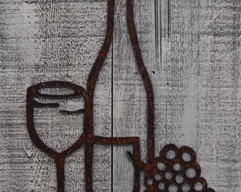 Wine, Glass, Grapes plasma cut by hand, rusty metal wall hanging