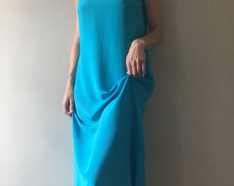 Vintage 100% silk ocean blue market dress