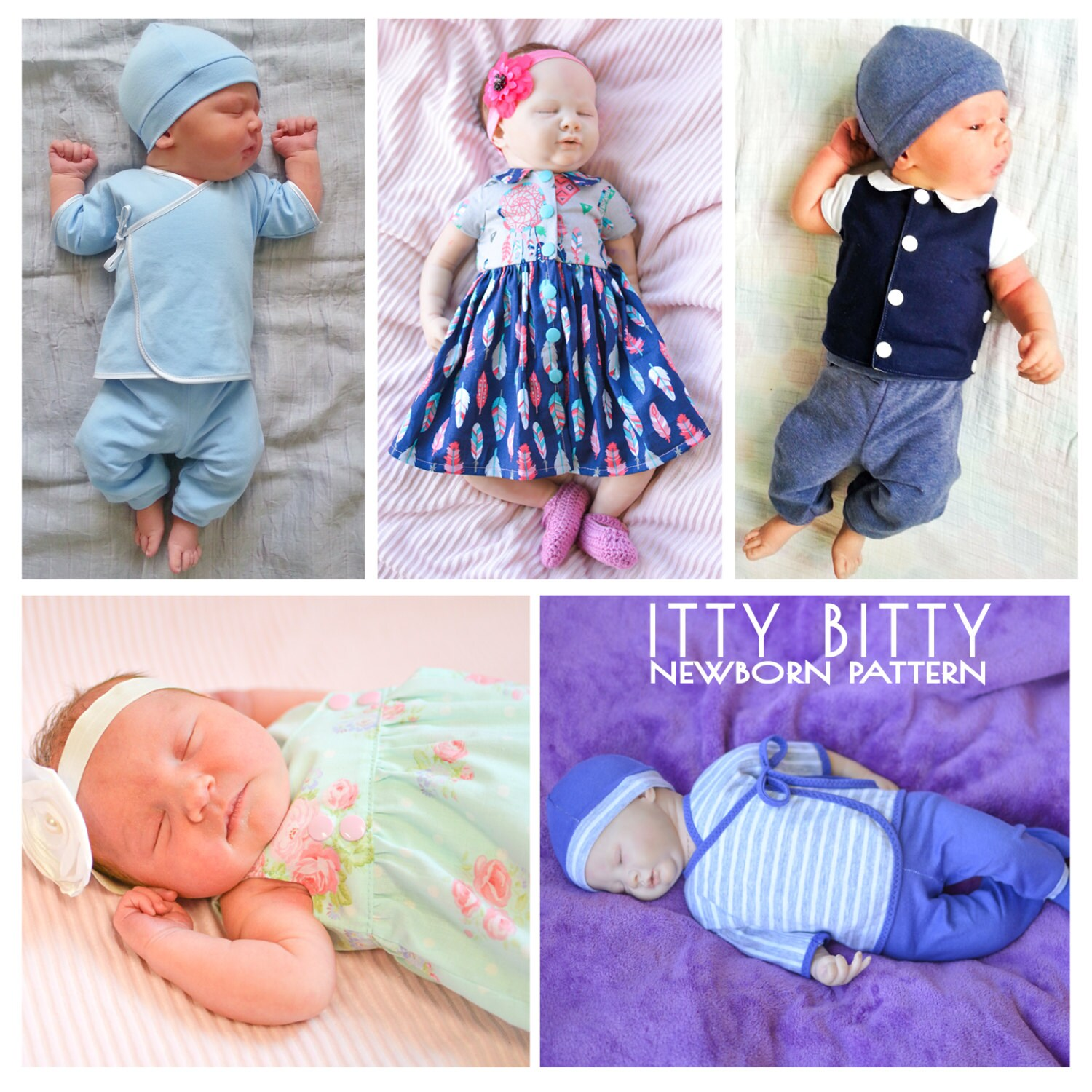 ITTY BITTY Newborn & Premature Prem baby sewing outfits Micro