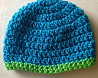 Baby Beanie, Crochet Beanie, Crocheted Hat, Blue And Green, Baby Shower Gift, Gender Neutral Hat, Baby Boy Beanie, Toboggan, Baby Gift