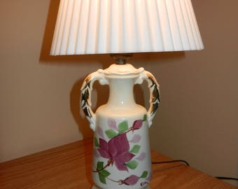 White Porcelain Like Desk Lamp with White Pleated Clip-on Shade