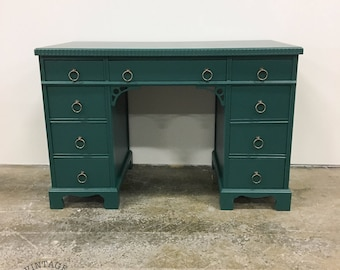AVAILABLE: Green Lacquer Desk / Vanity