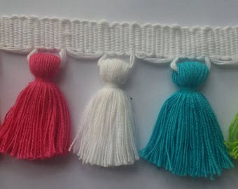 Cotton multi colored tassel fringe
