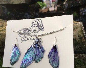 Fairy Wing Earrings, necklace set, Transparent Fairy Wings, Cicada Earrings, Butterfly Earrings, Butterfly Wings, Cicada Wings, blue morpho
