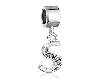 Initial S bead, large hole bead, European bead, charm bead, pugster bead, 4mm hole, silver plated bead, euro bead