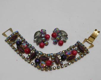 Vintage Red Aurora Borealis Rhinestone Bracelet and Earring Set