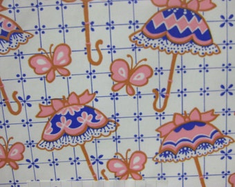 2 Sheets Vintage Spring Shower Umbrella-Butterflies Gift Wrap Paper