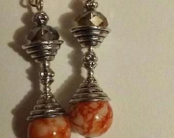Earrings sleepers orange ethnic style