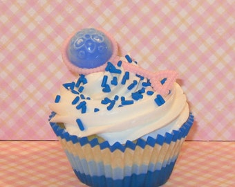 Pink and Blue Baby Rattle Cupcake Toppers  (12)