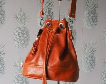 Drawstring bag, repurposed Italian Leather