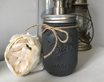 Painted Mason Jar soap dispenser for bathroom or kitchen