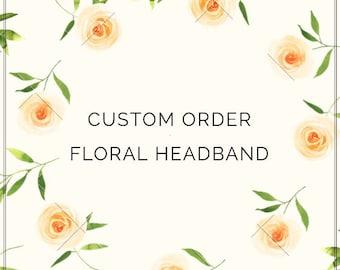 Custom Floral Headband, Custom Floral, Custom Boho Wedding, Floral Headband, Custom Baby Floral Headband, Twine Suede Tieback