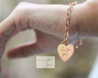 Custom Handwriting Jewelry • Handwriting Charm Bracelet • Signature Bracelet • Personalized Jewelry • Gift for Her • Mother Gift • BM21