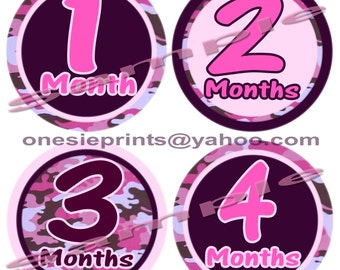 Precut 12 Month to month Stickers Monthly Stickers Baby Shower gift Bodysuit Infant Milestone stickers Baby Girl Pink Camoflauge decals