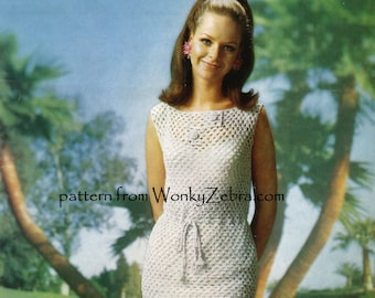 Vintage 60s sheath Dress Crochet Pattern PDF 710 from WonkyZebra