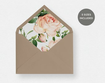 Envelope Liner Template | 5 Envelope Sizes Included Printable Instant Downloads | Floral | No. EDN 5239