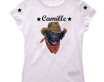 Girl Labrador cowboy personalized with name t-shirt