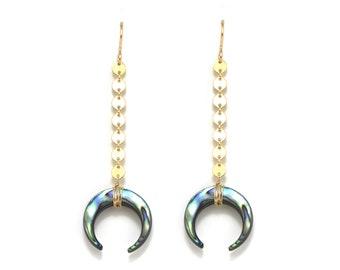 Abalone Crescent Earrings, Abalone Shell Earrings, Paua Shell Crescent Earrings, Abalone Moon Earrings, Paua Moon Earrings, Abalone Jewelry