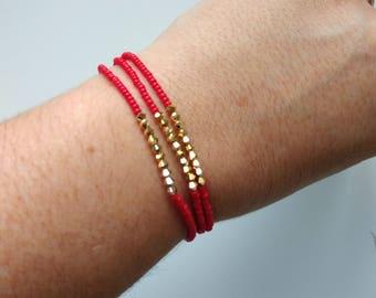 Stacking bracelet set, red bracelet, seed bead bracelets, dainty bracelet, elastic bracelet, stretch bracelet, 9 inch bracelet, anklet,gifts