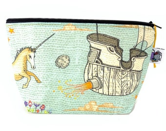 Gusseted Zipper NOTIONS POUCH with zipper pull - Enchanted Ocean