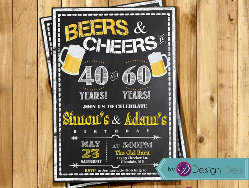 Adult Birthday Joint Party Invitation for Men. Beers & Cheer