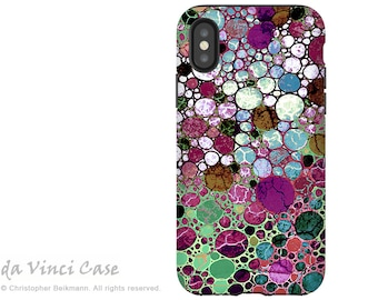 Abstract iPhone X Tough Case - Dual Layer Protection for iPhone 10 Anniversary Edition - Artistic Burgundy and Green Art - Berry Bubbles