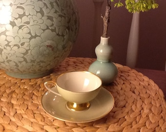 Vintage Plankenhammer Bavarian German Demitasse Bone China Teacups and Saucers Green and Gold