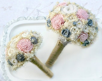 Pink + Gray Wedding Flowers // Bridal Bouquet Wedding Bouquet Sola Bouquet Burlap Bride Bridesmaid Flowers Wedding Bouquet Set Blush Pink