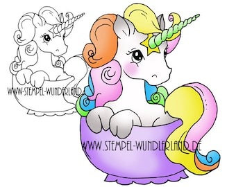 Digi Stamps Unicorn mystical creature Teaparty Birthday digi stamp fairytail Cup Digital Stamp + Colored Printable
