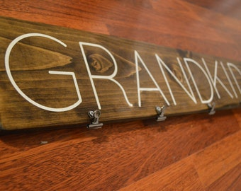 "Wood ""Grandkids"" Sign with Clips for Pictures, Grandkids Pictures, Grandparents, Picture Display, Grandkids"