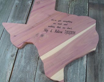 "Texas Outline Guest Book, texas cedar wood guest log, 24""x 24"",x1"", personalized as desired, laser engraved, Reclaimed Texas Red Cedar"