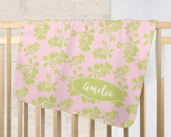 Botanical Baby Blanket in Pink and Green; Personalized with Name