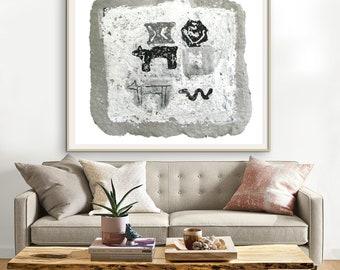 Earthy Wall Art, Primitive Wall Decor, Black and White Print, Animal Print, Large Wall Art, Terra Wall Art, Rustic