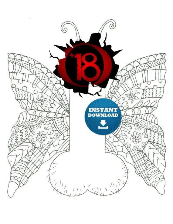 Sofortiger Download Schmetterling Penis Färbung Seite freche