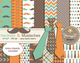 50% OFF Necktie and Mustache Digital Papers, Little Man, Boy Birthday, Father's Day Digital papers and Clipart, Scrapbooking