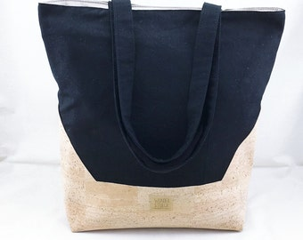 Large shopper bag-from a pleasant canvas in black and Korkstoff